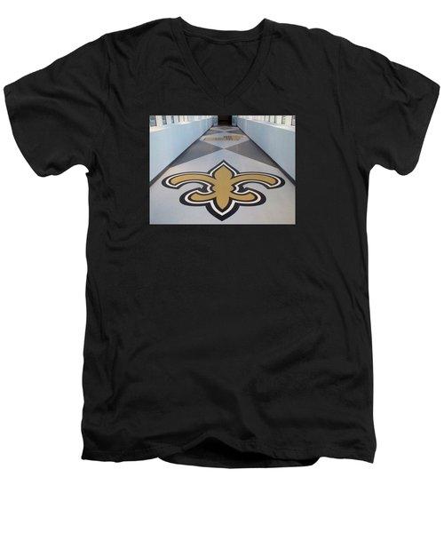 Saints Are Coming - Benson Towers - New Orleans La Men's V-Neck T-Shirt by Deborah Lacoste