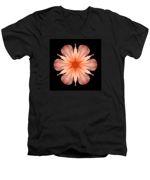 Salmon Daylily I Flower Mandala Men's V-Neck T-Shirt by David J Bookbinder
