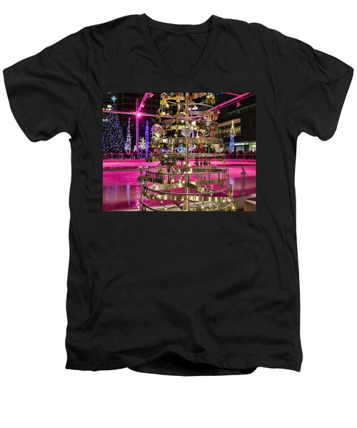 Men's V-Neck T-Shirt featuring the photograph Salt Lake City - Skating Rink - 1 by Ely Arsha