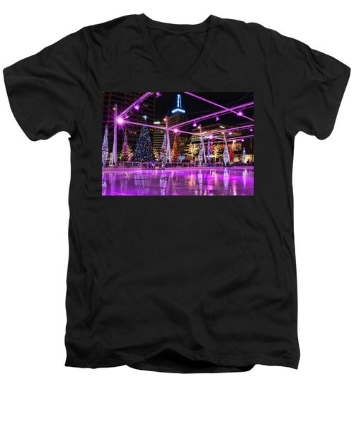Men's V-Neck T-Shirt featuring the photograph Salt Lake City - Skating Rink - 2 by Ely Arsha