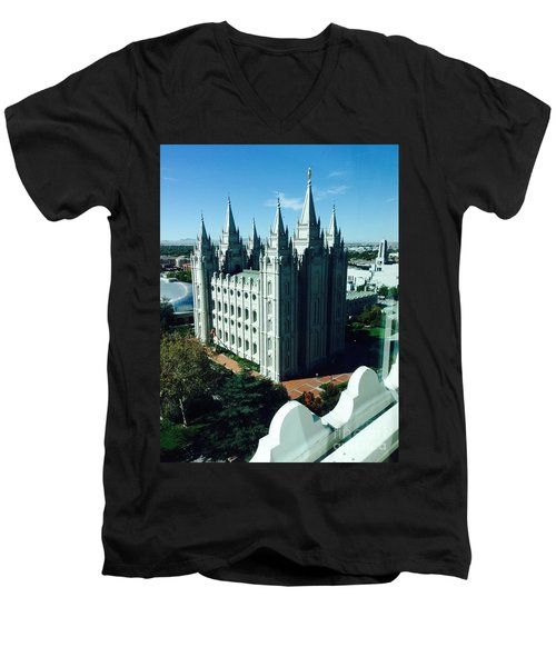 Salt Lake Temple The Church Of Jesus Christ Of Latter-day Saints The Mormons Men's V-Neck T-Shirt by Richard W Linford