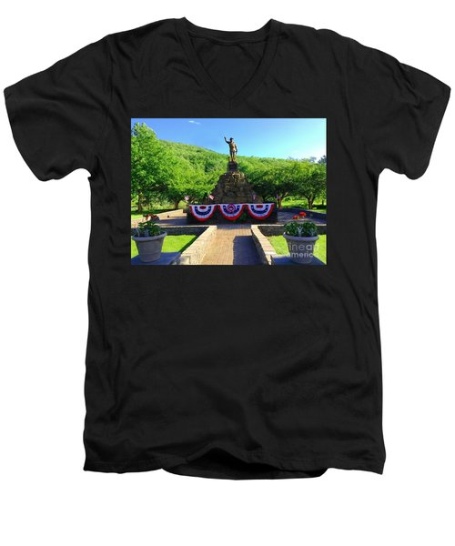 Men's V-Neck T-Shirt featuring the photograph Salute To Our Hero's  by Becky Lupe