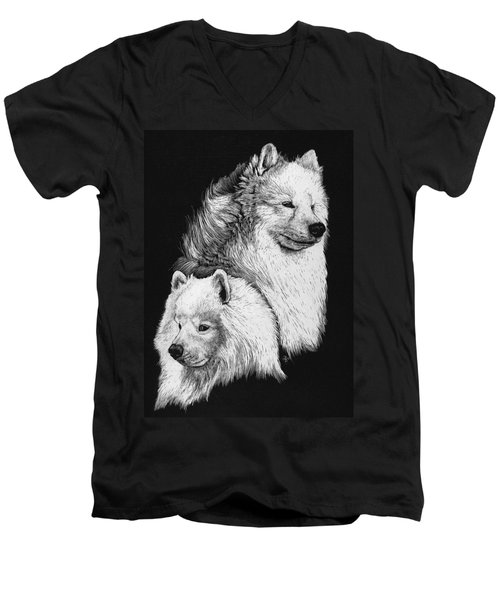 Men's V-Neck T-Shirt featuring the drawing Samoyed by Rachel Hames