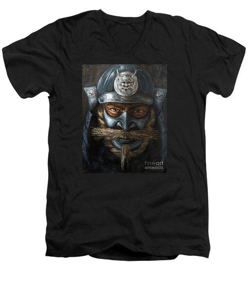 Men's V-Neck T-Shirt featuring the painting Samurai by Arturas Slapsys