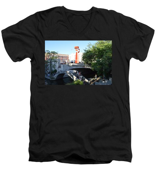 Men's V-Neck T-Shirt featuring the painting San Antonio River 01 by Shawn Marlow