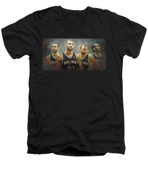 San Antonio Spurs Artwork Men's V-Neck T-Shirt
