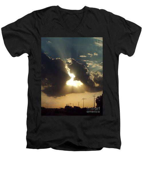 Men's V-Neck T-Shirt featuring the photograph San Antonio Sunset by Peter Piatt