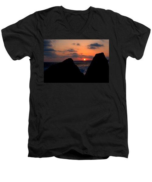 Men's V-Neck T-Shirt featuring the photograph San Clemente Rocks Sunset by Matt Harang