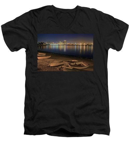 San Diego Harbor Lights Men's V-Neck T-Shirt by Gary Holmes
