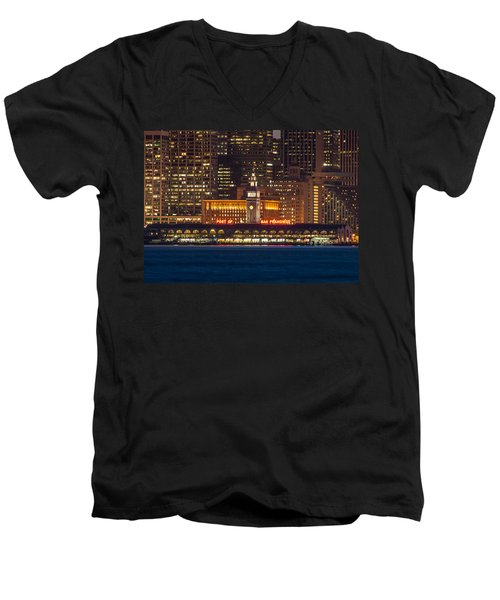 San Francisco Ferry Building At Night.  Men's V-Neck T-Shirt