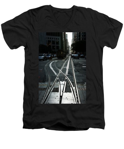 Men's V-Neck T-Shirt featuring the photograph San Francisco Silver Cable Car Tracks by Georgia Mizuleva
