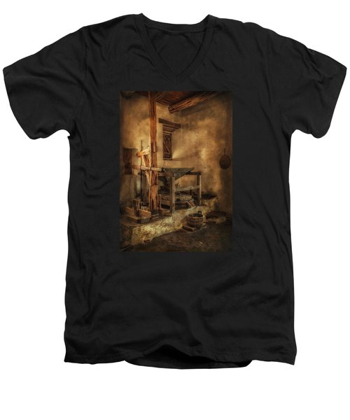 Men's V-Neck T-Shirt featuring the photograph San Jose Mission Mill by Priscilla Burgers