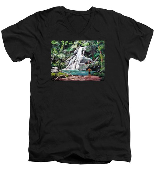 San Sebastian Waterfall Men's V-Neck T-Shirt by Luis F Rodriguez