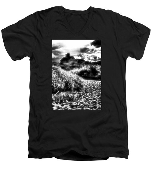 Men's V-Neck T-Shirt featuring the photograph Sand In Ma Shoes by Robert McCubbin