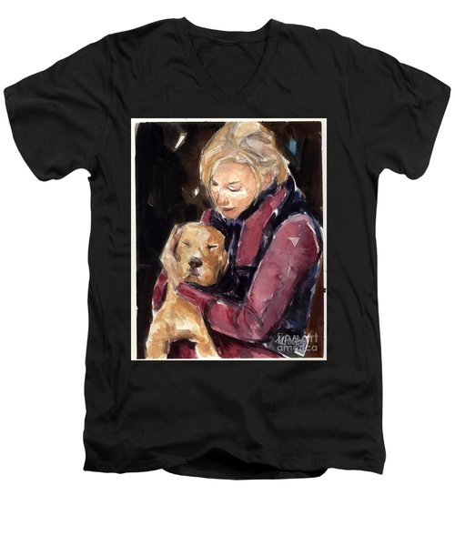 Men's V-Neck T-Shirt featuring the painting Sandy Grace And Me by Molly Poole