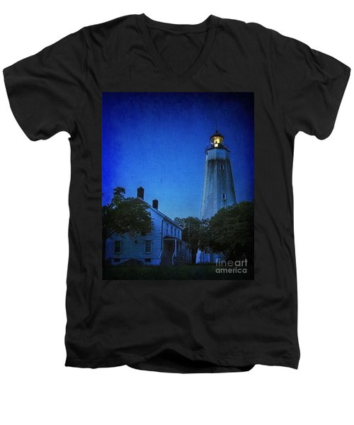 Men's V-Neck T-Shirt featuring the photograph Sandy Hook Lighthouse At Twilight by Debra Fedchin