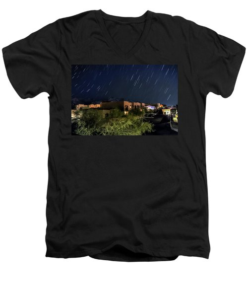Men's V-Neck T-Shirt featuring the photograph Santa Catalina Mountain Startrails by Dan McManus