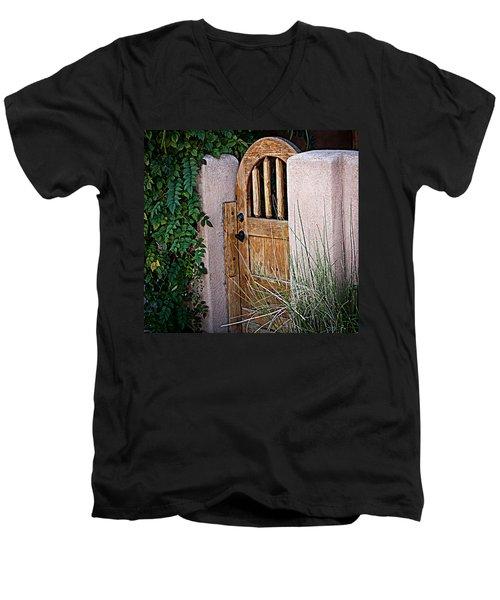 Men's V-Neck T-Shirt featuring the photograph Santa Fe Gate by Patrice Zinck