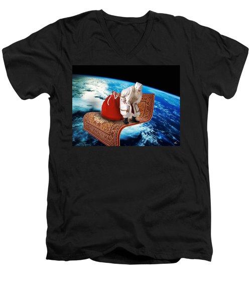 Santa's Flying Carpet Men's V-Neck T-Shirt