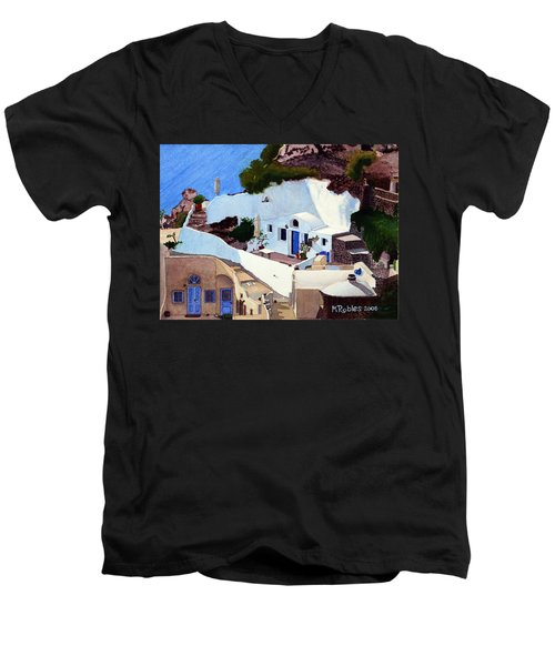 Santorini Cave Homes Men's V-Neck T-Shirt by Mike Robles