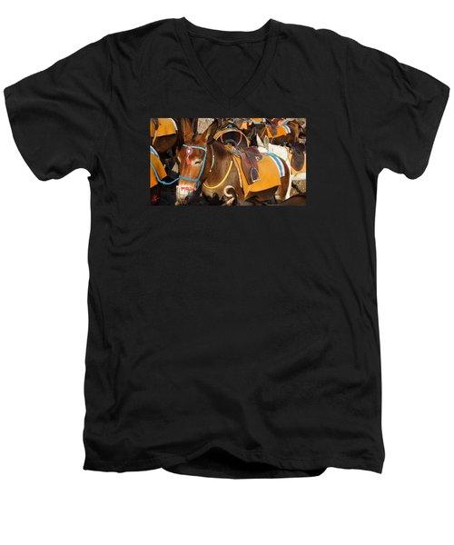 Santorini Donkeys Ready For Work Men's V-Neck T-Shirt by Colette V Hera  Guggenheim