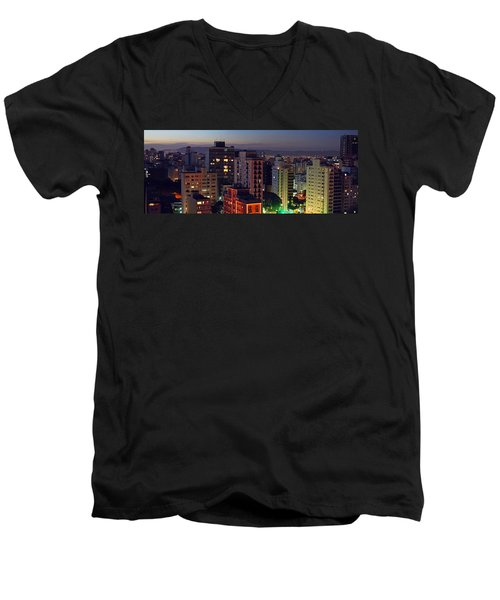 Sao Paulo Downtown At Dusk Men's V-Neck T-Shirt