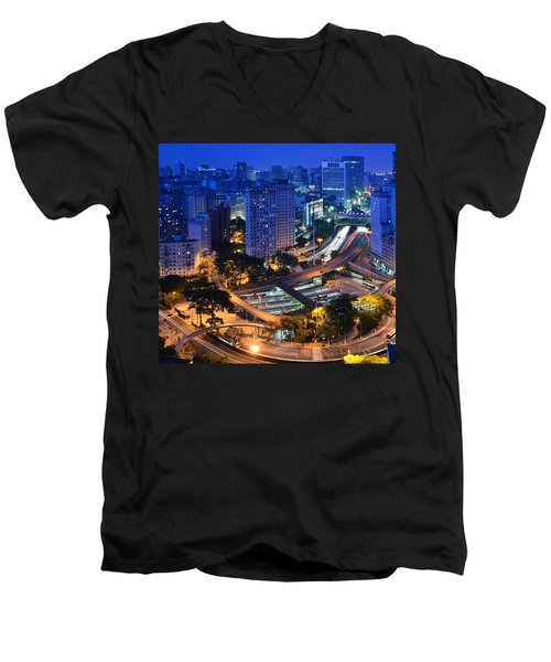 Sao Paulo Skyline - Downtown Men's V-Neck T-Shirt