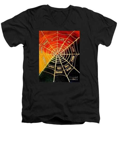 Satan's Web Of Lies Men's V-Neck T-Shirt