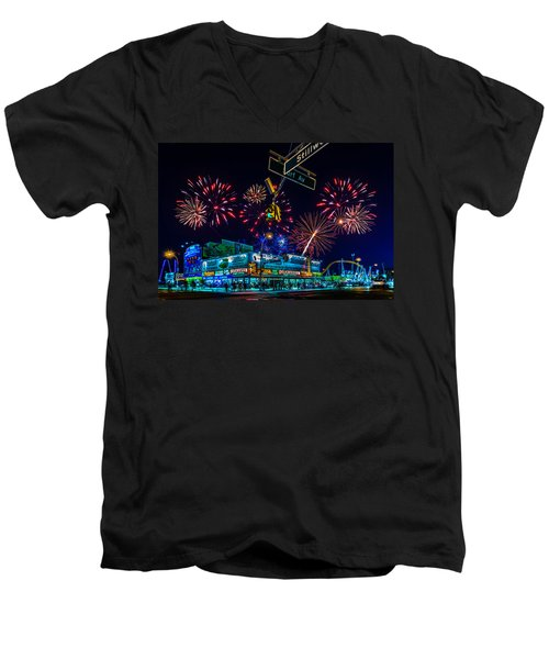 Saturday Night At Coney Island Men's V-Neck T-Shirt by Chris Lord