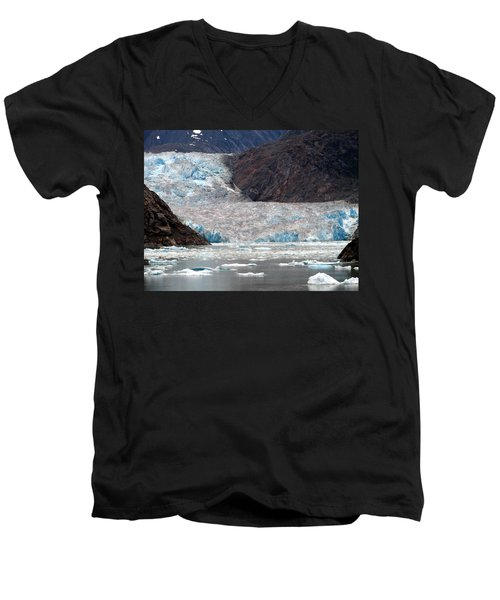 Men's V-Neck T-Shirt featuring the photograph Sawyer Glacier by Jennifer Wheatley Wolf