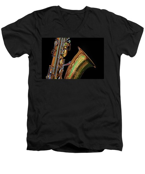 Men's V-Neck T-Shirt featuring the photograph Saxophone by Dave Mills