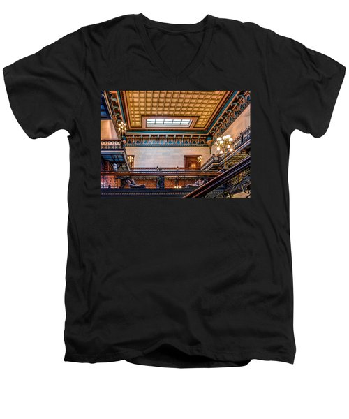 Men's V-Neck T-Shirt featuring the photograph Sc State House by Rob Sellers