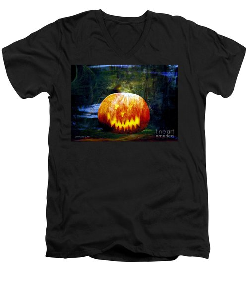 Men's V-Neck T-Shirt featuring the photograph Scary Pumpkin Halloween Art by Annie Zeno