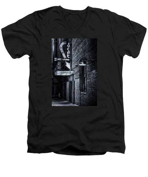 Scat Lounge In Cool Black And White Men's V-Neck T-Shirt by Joan Carroll