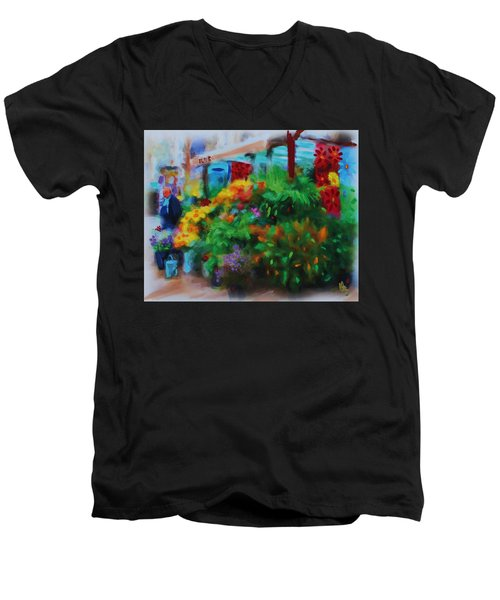 Scene From La Rambla Men's V-Neck T-Shirt