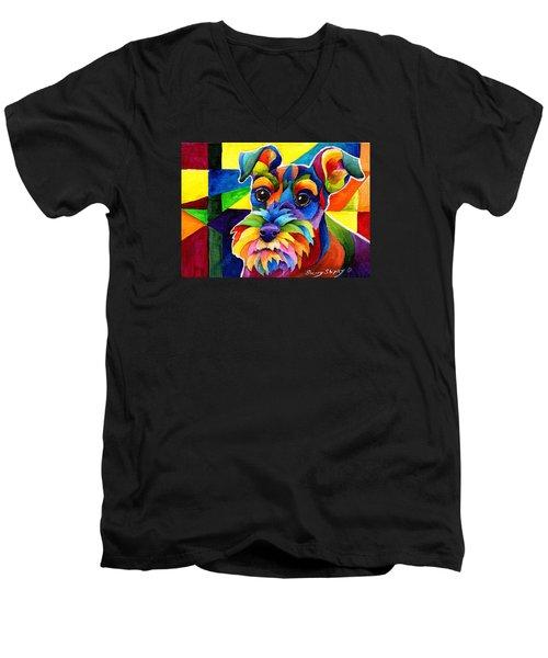 Schnauzer Men's V-Neck T-Shirt by Sherry Shipley