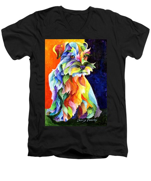 Schnauzer Too Men's V-Neck T-Shirt by Sherry Shipley