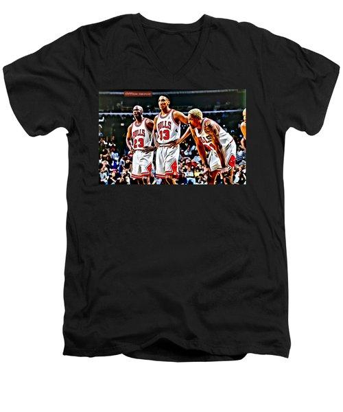 Scottie Pippen With Michael Jordan And Dennis Rodman Men's V-Neck T-Shirt