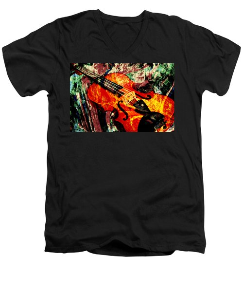Men's V-Neck T-Shirt featuring the mixed media Scribbled Fiddle by Ally  White