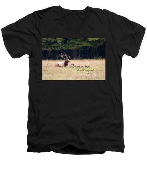 Scripture Photo With Elk Sitting Men's V-Neck T-Shirt