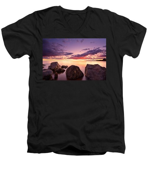 Sea At Sunset The Sky Is In Beautiful Dramatic Color Men's V-Neck T-Shirt