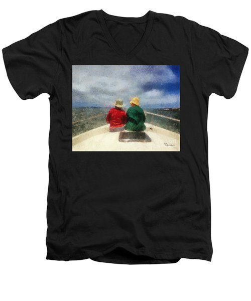Sea Breeze 4 On The Bay Men's V-Neck T-Shirt by Linda Weinstock