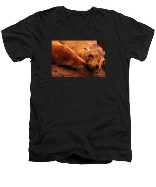 Men's V-Neck T-Shirt featuring the photograph La Jolla Love by John F Tsumas