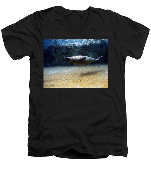 Men's V-Neck T-Shirt featuring the photograph Sea Lion Swimming Upsidedown by Verana Stark