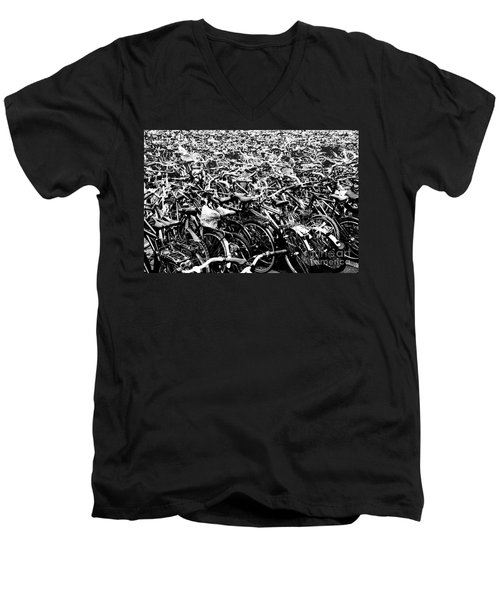 Men's V-Neck T-Shirt featuring the photograph Sea Of Bicycles 3 by Joey Agbayani
