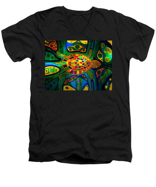 Sea Turtle - Abstract Ocean - Native Art Men's V-Neck T-Shirt