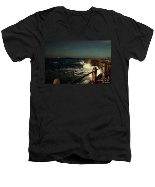 Sea Wall At Night Men's V-Neck T-Shirt