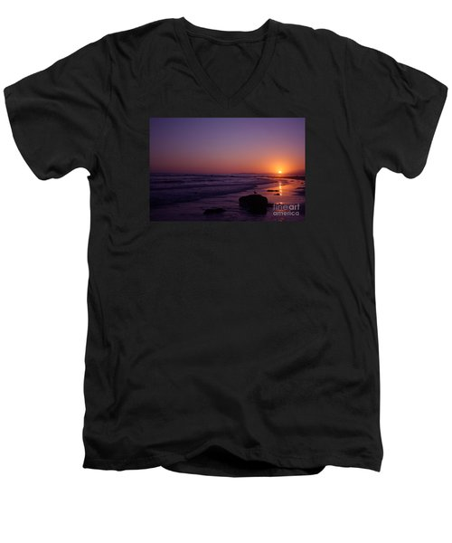 Men's V-Neck T-Shirt featuring the photograph Seagull Watching The Sunset Carpinteria State Beach by Ian Donley