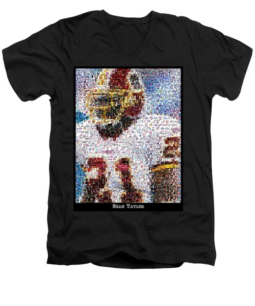 Sean Taylor Mosaic Men's V-Neck T-Shirt