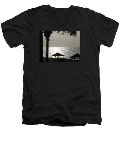 Men's V-Neck T-Shirt featuring the photograph Seaside Dinner For Two by Patti Whitten